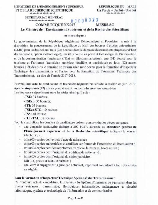 Bourses Du Gouvernement Algerien Walanta