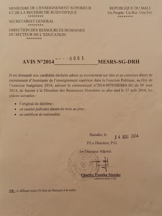 Urgent: Avis MESRS pour les Admis Fonction-Publique